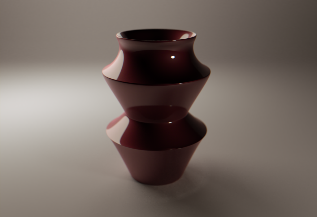 A ceramic vase created in digital 3D displayed on a cyclorama.