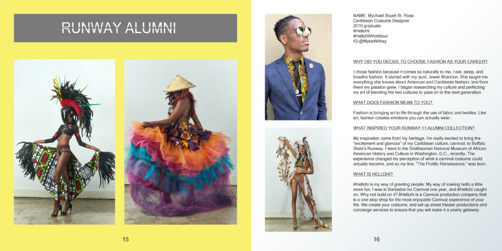 A spread from the BSC Runway lookbook, featuring Runway alumni Mychael Stuart St. Rose